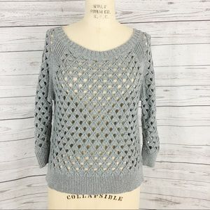 American Eagle open knit silver gray sweater top